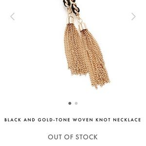 Guess Black and Gold-tone Woven Knot Necklace